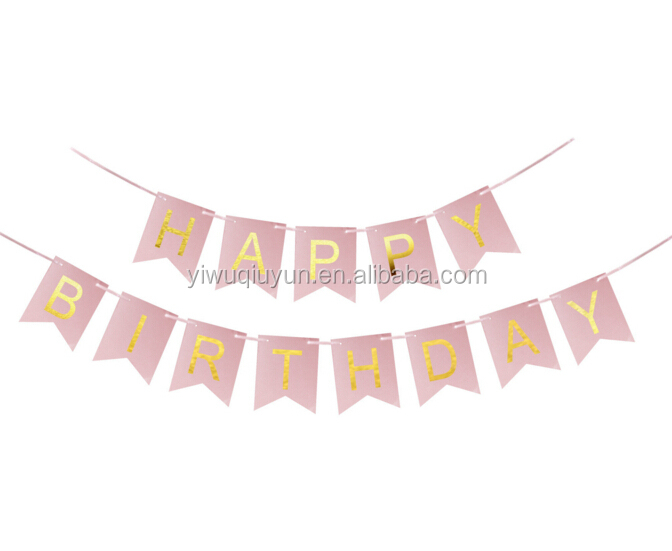 Cute Pink Baby Kids Happy Birthday Banner Garland Hanging Gold Letters Tag Photo Props Garland Wedding Decoration Party Banner