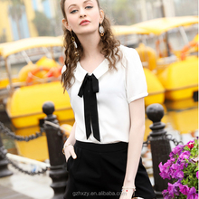 New design short sleeve butterfly new blouse back neck design blouse for lady