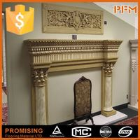 Hand carved indoor french style cultured angel marble fireplace mantel