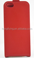 Red PU leather cover for iphone 6 s flip case OEM factory