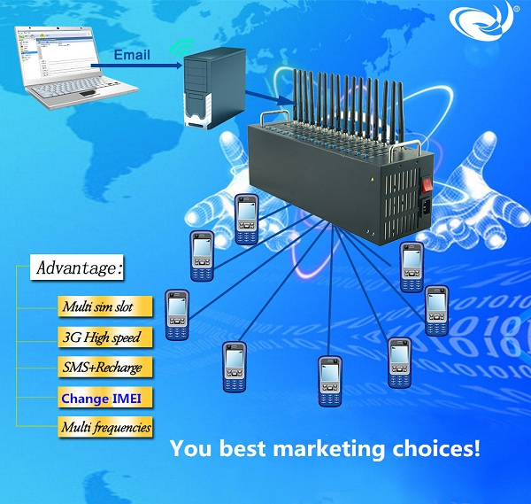 3g usb modem pool 16 port gsm bulk sms modem
