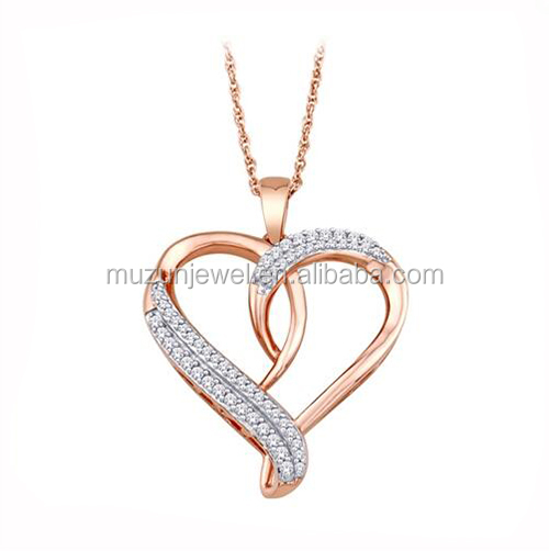 Genuine 925 Sterling Silver AAA CZ Crystal Rose Gold Plated Heart Pendant Necklace