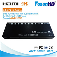 Strongest IR distributor 2 input(one UTP) to 16 hdmi output, With Audio extraction split via optical cable.