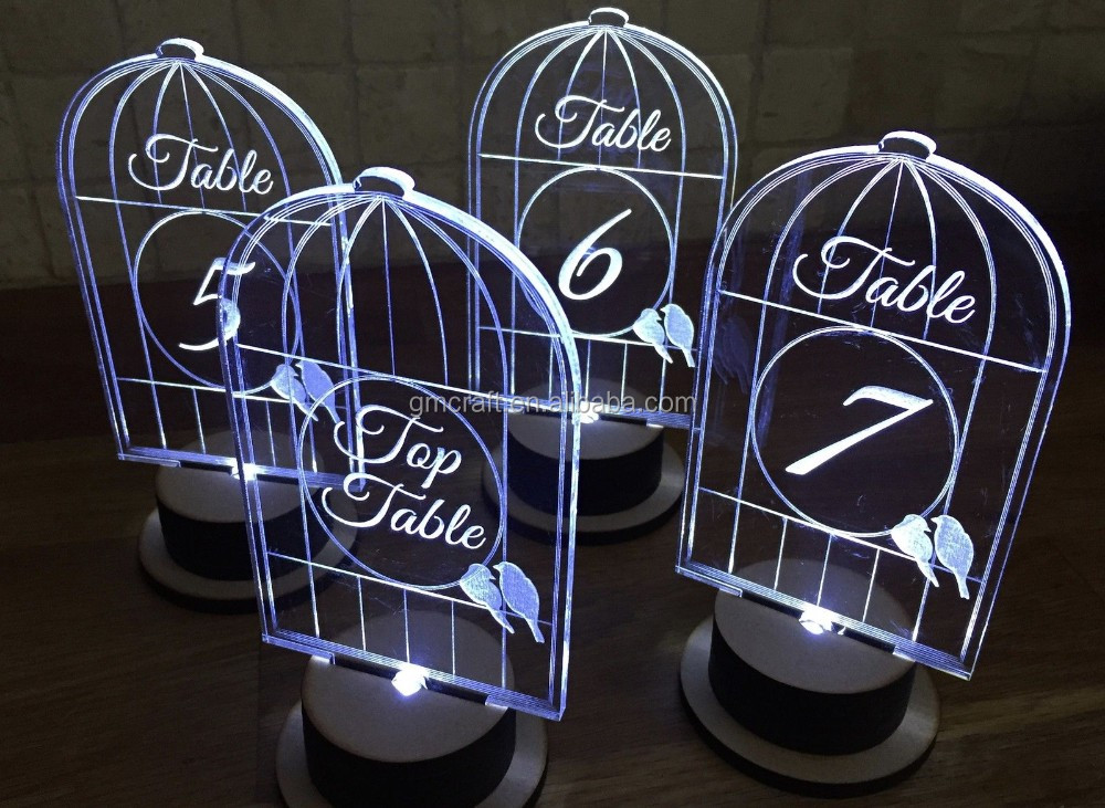 Numbers Glass light up welcome sign,table decor