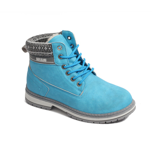 Russian Winter Outdoor Blue Fur Boots Women Western PU Leather Boots For Man