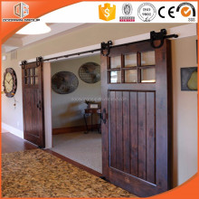 Hot Sales American Style Solid Oak/ Teak/ Pine Glass Lifting Wood Sliding Barn Door