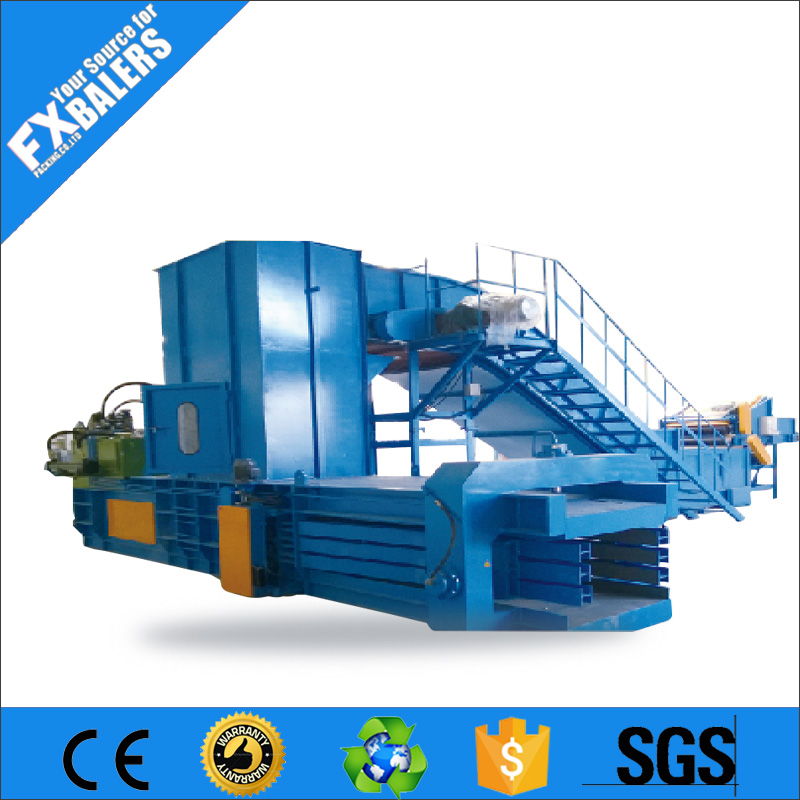 Automatic horizontal hydraulic waste scrap press hay straw clothes fiber texile plastic OCC cardboard paper recycling machine