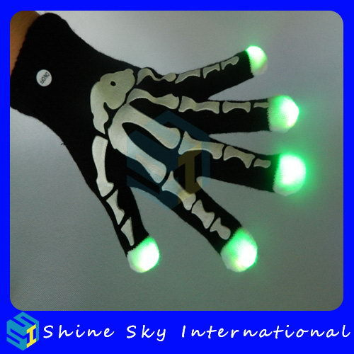 Top Selling Halloween Party Supply Flashing Gloves Skeleton Design