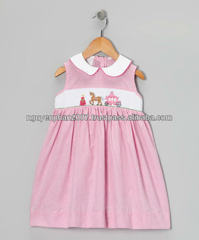 Cheap Wholesale Pink Gingham Carriage Smocked Dress For Baby Girls ...