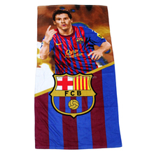 100% cotton promotional factory direct selling football star printing football beach towel