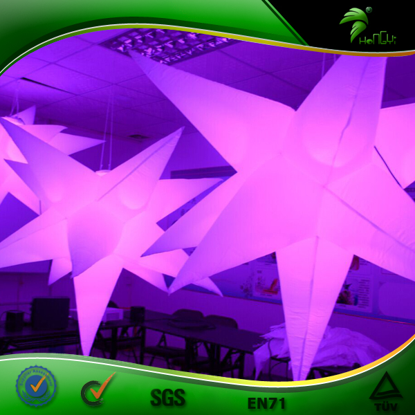 Giant Fairy Lights Outdoor Decor Balloon LED DJ Star Shape Night Light Projector Indoor Inflatable Ceiling Lamp