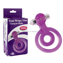 New Best Male Sex Toys Pictures Pink Purple Penis Ring Rubber Dual Vibrating Cock Ring Vibrator