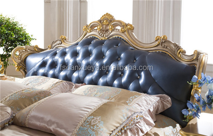 China danxueya furniture queen size bed with leather head