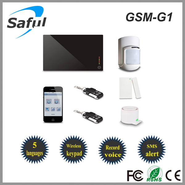 315MHz/433MHz wireless home alarm system, gsm wireless home security alarm system Saful GSM-G1