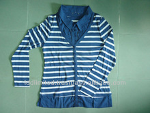 Fancy V Neck T-shirt with Blue Stripe