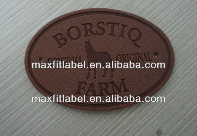 high quality leather patch beanies for garment,debossed PU/genuine leather label,Custom Garment Leather Label