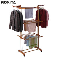 RT-300W2 pvc coated folding telescopic hanging stand clothes hanger