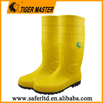 High ankle CE standard steel toe yellow pvc wellington boots