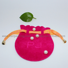 Wrapping package bag, Red wrapping suede jewellery pouch with string