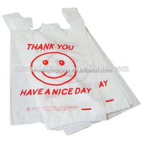 MOO67 Red Smile Face Printed 1/6 White Thank you Smiley Bag,