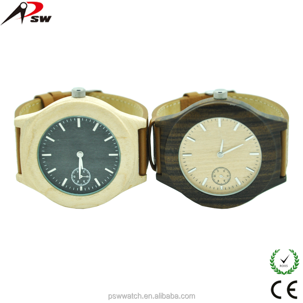 2015 new products genuine leather mechanical wooden watches