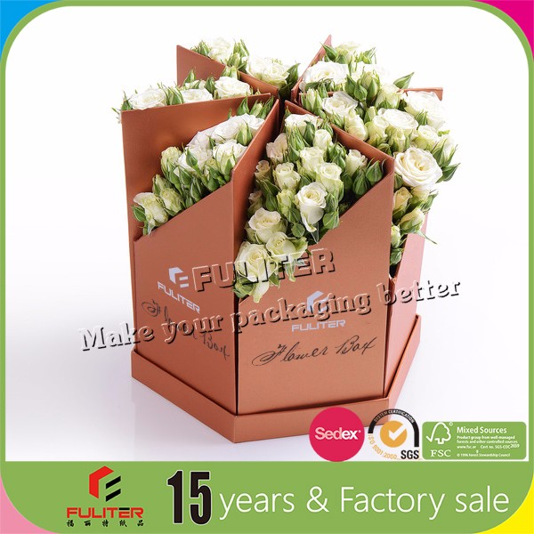 Custom popcorn cone packaging flower box carrier
