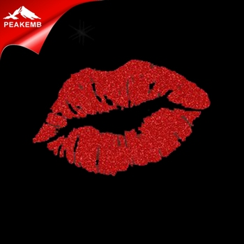 Red kiss Glitter Hotfix Transfer Glitter Heat Transfer Vinyl for T shirt,for handle bag