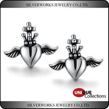 925 Sterling Silver & Cubic Zirconia CZ Angel Wing Retro Heart Stud Earrings
