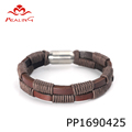 Wholesale leather braided bracelet italian mens leather bracelets stainless steel magnetic
