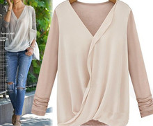 S31461A New Women Long Sleeve Blouse Sexy V-Neck Shirts Solid Color Slim Type Tops Lady Blouses