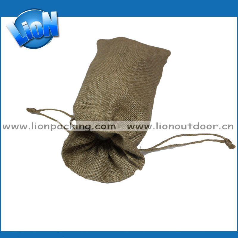 Eco-friendly hot jute burlap wine bottle drawstring bag