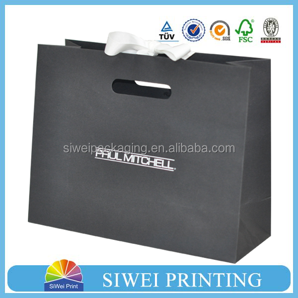 Recycled material Cosmetic products shopping Black paper bag with logo print