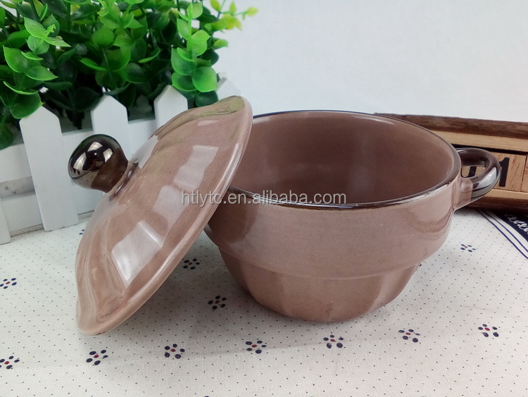Liling manufactory promotional stoneware bowl for soup with handle