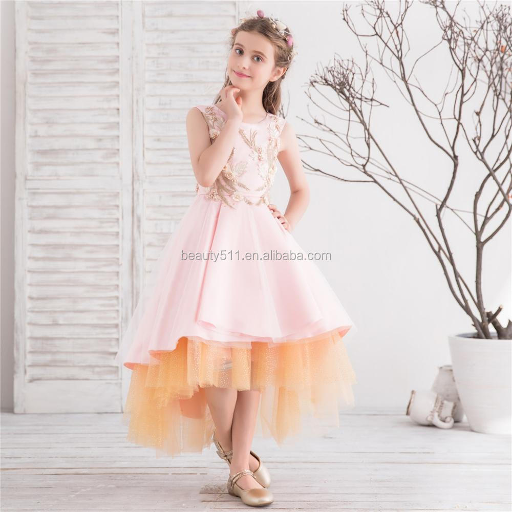 Pink color Kid Girl Wedding Flower Girls Dress Princess Party Pageant Formal Dress Prom flower girl Wedding Birthday Dress