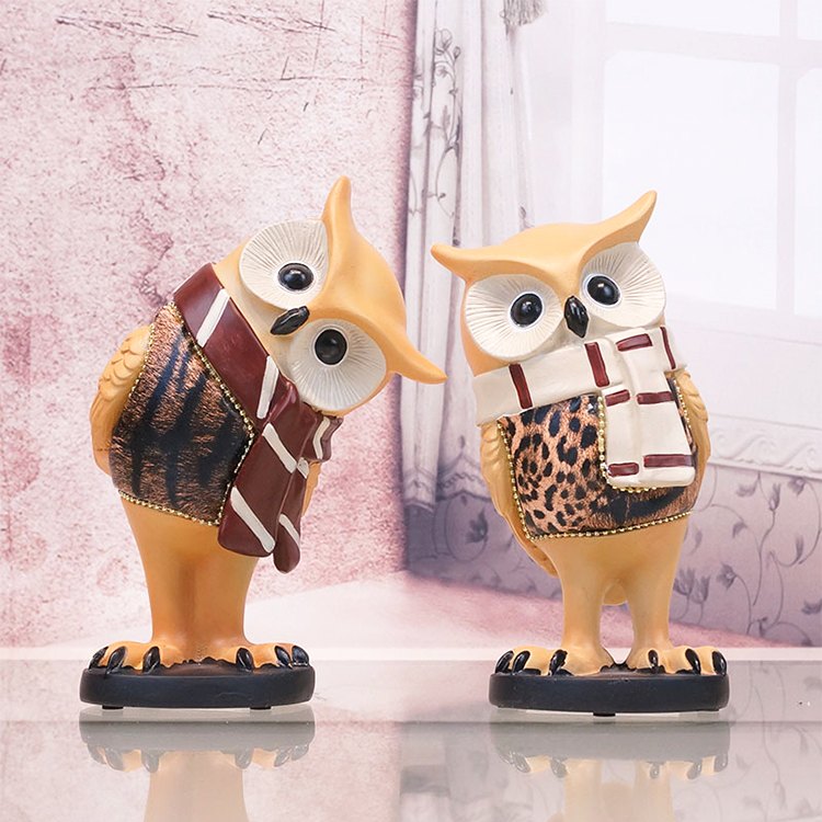 Colorful 3D Carved Bird Sculpture Owl Animal Sculpture