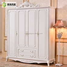 French Baroque Style Hand carved design 4 Door Ivory White MDF wooden bedroom wardrobes