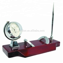 globe design multifunction table clocks with pen holders and business card bit