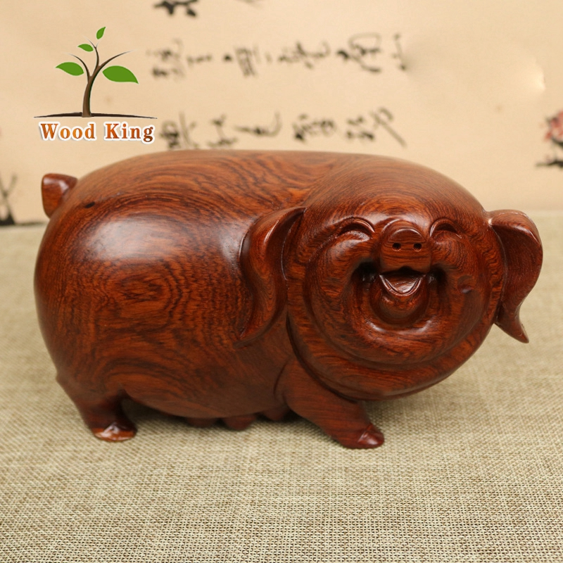 Factory Supply Carved Furnishing Articles Root Carving Wood Pig Ornament Craft Decoration Ideas Wooden Animal Statues