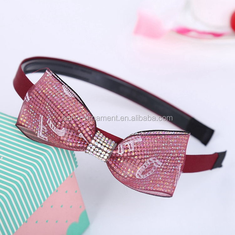 2017 girls fashion crystal plastic flashing hair bow bling letter special headband