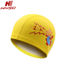 Kids soft cartoon funny PU waterproof swimming cap