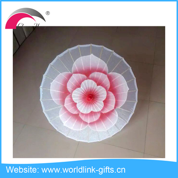 High quality silk parasol bamboo frame craft umbrella
