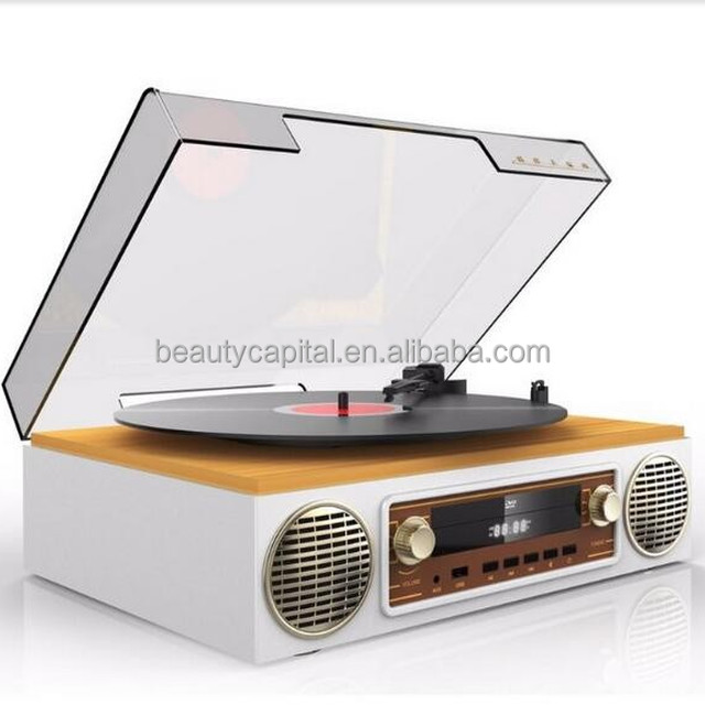 Professional manufacture portable vinyl record turntable player with USB TF card AUX for MP3 player