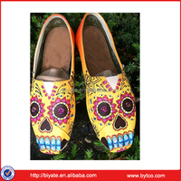 Hand painted sugar skull themed shoes,slip on canvas shoe