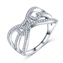 I lOVE You silver plated rings for women heart design jewelry paved Czech diamond new wedding band love ring CRI1024