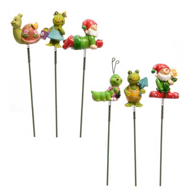 Miniature Resin Animal Garden Staked Springy Accessories, Set of 3