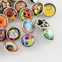 Mixed 12mm Picture Glass Cabochon Snap Fasten Button(GLAA-S049-M)