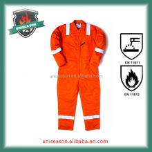 100% orange cotton safety flame resistant branded workwear overalls