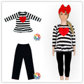 Girls Valentine Black Stripe Heart Dresss And Leggings Outfits Fashion Valentine Clothes