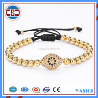 2016 jewelry black cotton thread gold bead woven hot mens bracelet