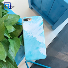 Watercolor White And Blue Marble Design Clear Bumper Matte TPU Soft Silicone Cover Phone Case for iPhone 7